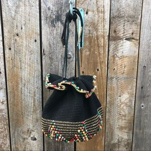 Vintage 1960s Rainbow Knit Cord Purse Bag small